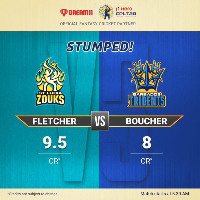 Ready to witness the @StLuciaStars take on the @BIMTridents at the Darren Sammy National Cricket Stadium? Create your #Dream11 for this T20 game here - https://d11.co.in/CPL#CPL19 @CPL #STZvBT
