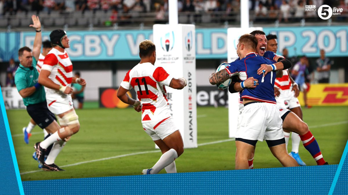 What a moment 🏉👏Russia celebrate after scoring the first try of #RWC2019 Could we see an upset in the opening game? 👀Japan 5-7 Russia#JPNvRUS via @BBCSounds 📱📻http://bbc.in/2m63TIj#bbcrugby