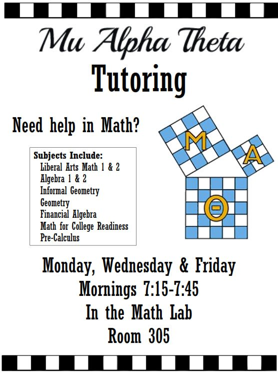ATTENTION ALL STUDENTS!!! Need additional help in Math, English, Science or Social Studies. Mu Alpha Theta and National Honor Society are now offering free, before school tutoring every Mon, Wed, and Fri in Room 305 (Math Lab) - 7:15-7:45AM  #onehurricane <br>http://pic.twitter.com/k1APDr0p2E