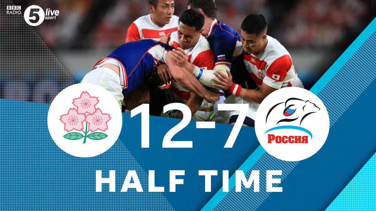 """HT:Japan 12-7 Russia""""After 25 minutes Japan got themselves into a routine"""" - @matt9dawson The host nation got the lead just before the break!#JPNvRUS via @BBCSounds 📱📻http://bbc.in/2m63TIj#RWC2019 #bbcrugby"""