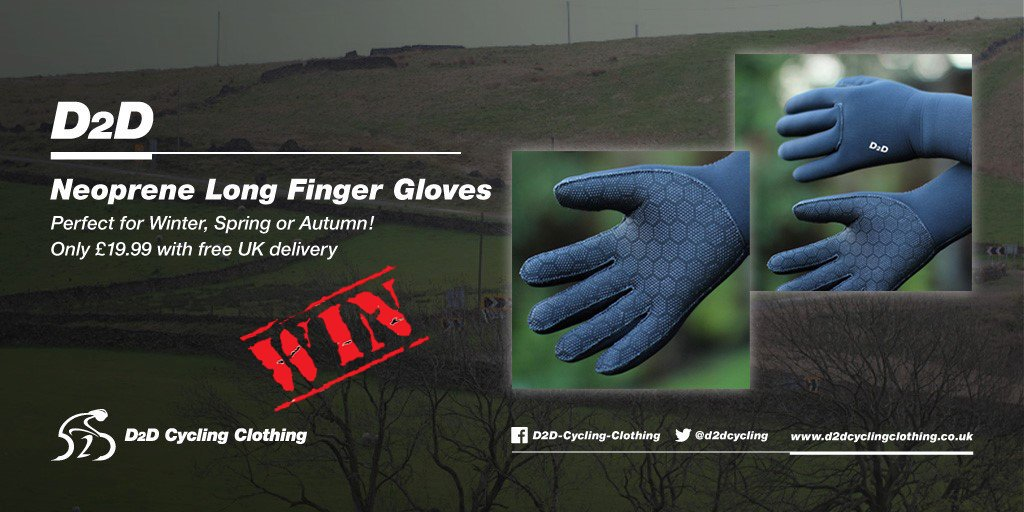 #FREEBIEFRIDAY #COMPETITION time again! This time it's for a chance to #win a pair our our neoprene gloves, which are perfect for Autumn weather! To enter, simply FOLLOW US and RETWEET this tweet! The #COMP draw be this Sunday at 8pm. T&C on website.   http:// d2dcyclingclothing.co.uk     <br>http://pic.twitter.com/N88h63Te0y