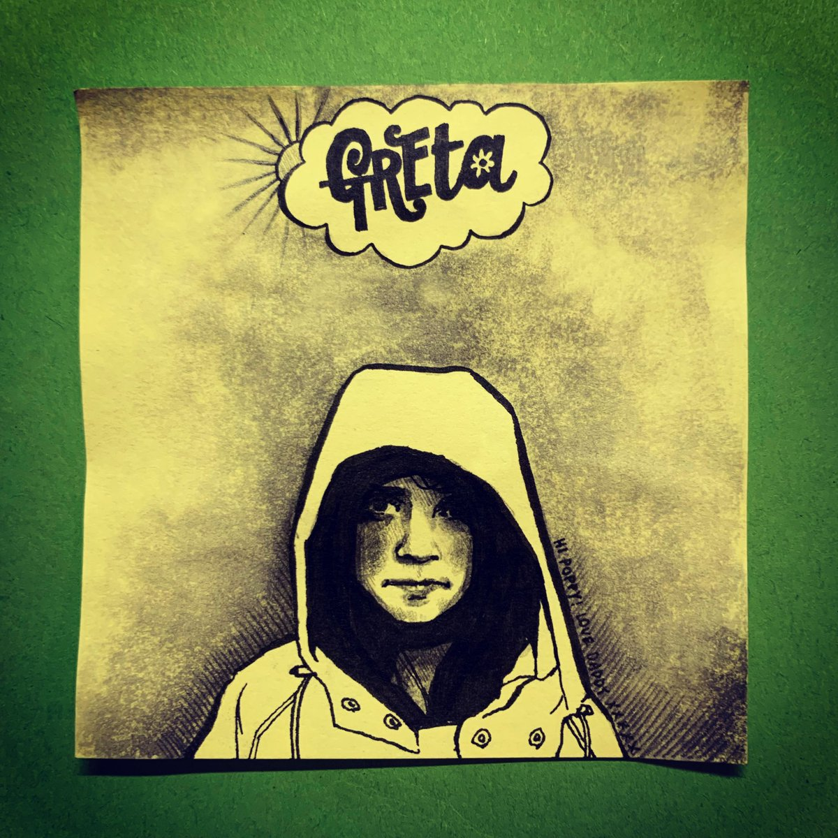 In support of #climatestrike I have drawn @GretaThunberg, a true hero for the ages, for Poppy's #PackedLunchPostIt today. 🌈 🌍 👊