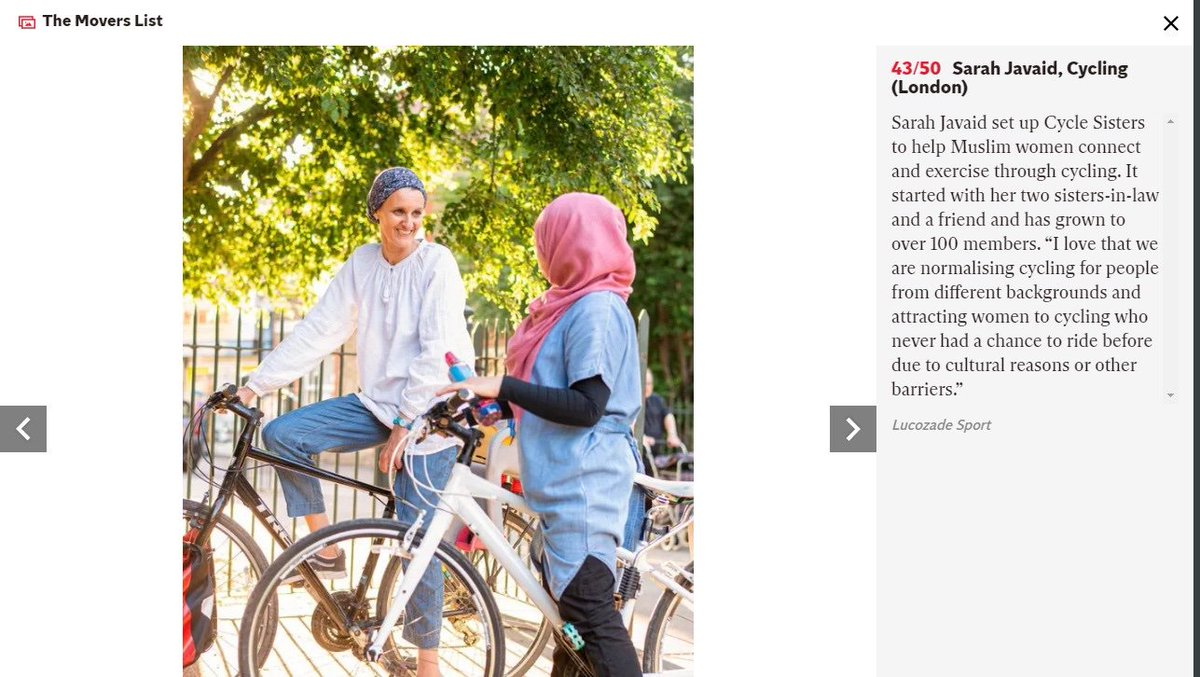 Great to see Sarah Javaid recognised in the first @Independent top 50 movers list for her work in setting up Cycle Sisters in Waltham Forest and encouraging Muslim women to break barriers, connect and exercise through cycling twitter.com/itvlondon/stat…