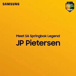 No pain. No Gain. Be #StrongerTogether and join the iconic wing, @jppietersen14 this Sunday at @Game_Stores, @GatewayUmhlanga from 10:00 to 13:00. Buy selected Samsung Products, and enter, you could WIN the trip of a lifetime, and see the @Springboks in Japan. Ts & Cs apply.