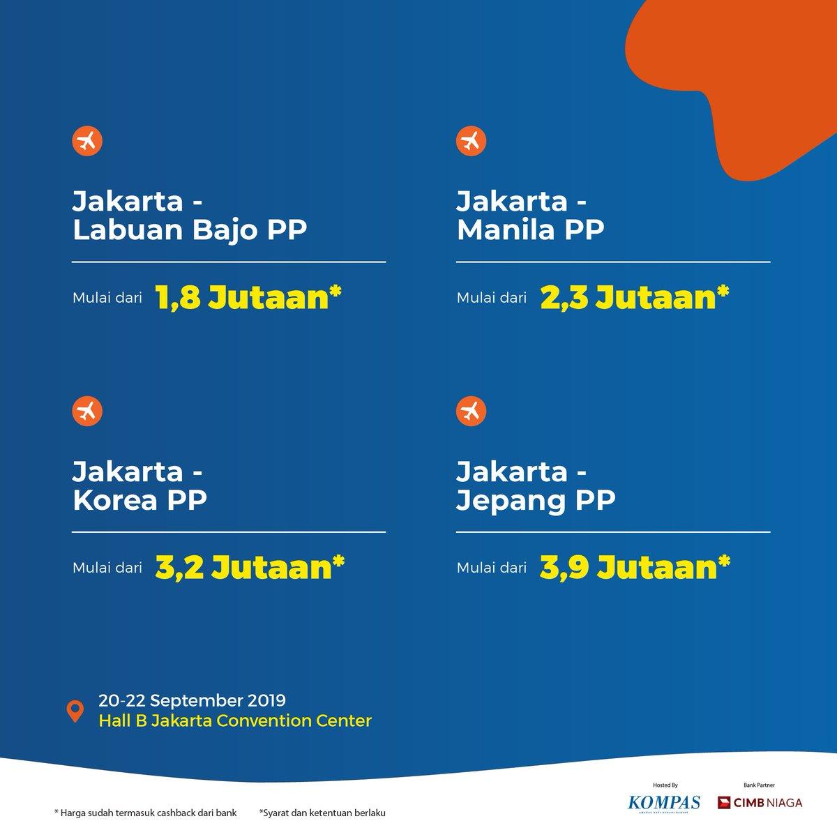 Kompas Travel Fair Na Twitteru Promo Tiket Pesawat Jakarta Bangkok Pp Mulai Dari Rp 1 5 Jutaan Jakarta Labuan Bajo Pp Mulai Dari Rp 1 8 Jutaan Jakarta Manila Pp Mulai Dari Rp 2 3
