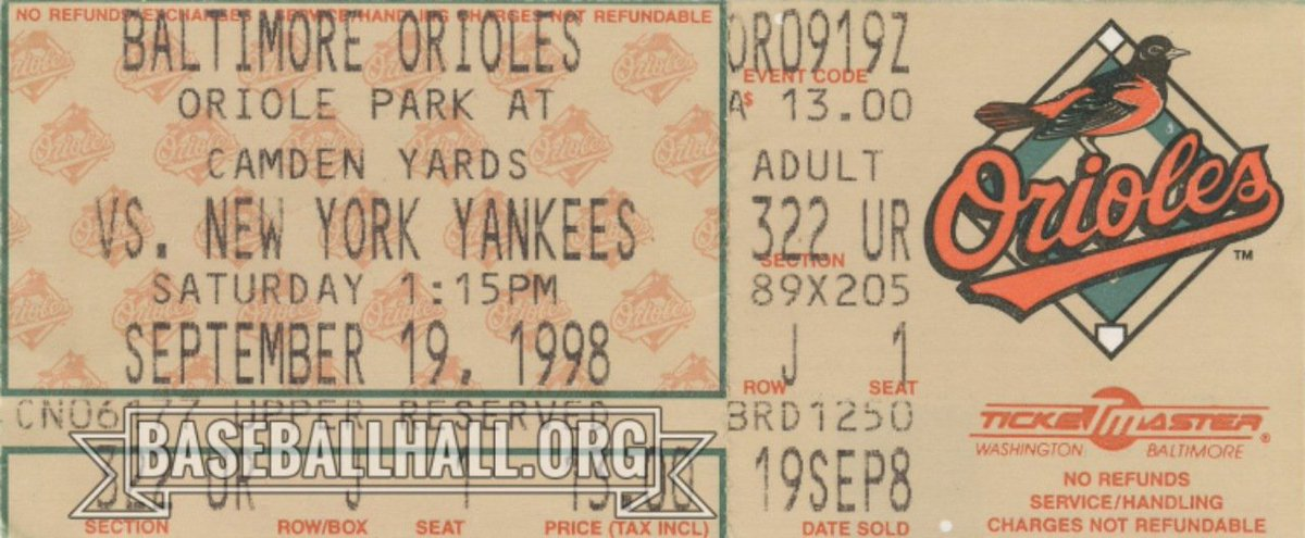 As the old adage goes: All good things must come to an end. 21 years ago today @ripkenbaseball's consecutive games streak, which he'd started an astounding 17 years earlier, came to an end at an awe-inspiring 2,632. This ticket is from that 2,632nd game.