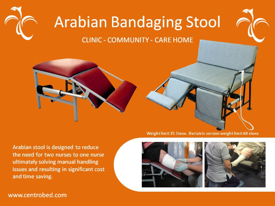 The Arabian Bandaging Stool #helps #nurses and #carers with #leg #treatment and #bandaging, for a #reducedrisk of injury and strain for #manualhandling. This stool #supports the #leg, and has a range of different positions for easy access. #CommunityCare #CostSaving #Bariatric
