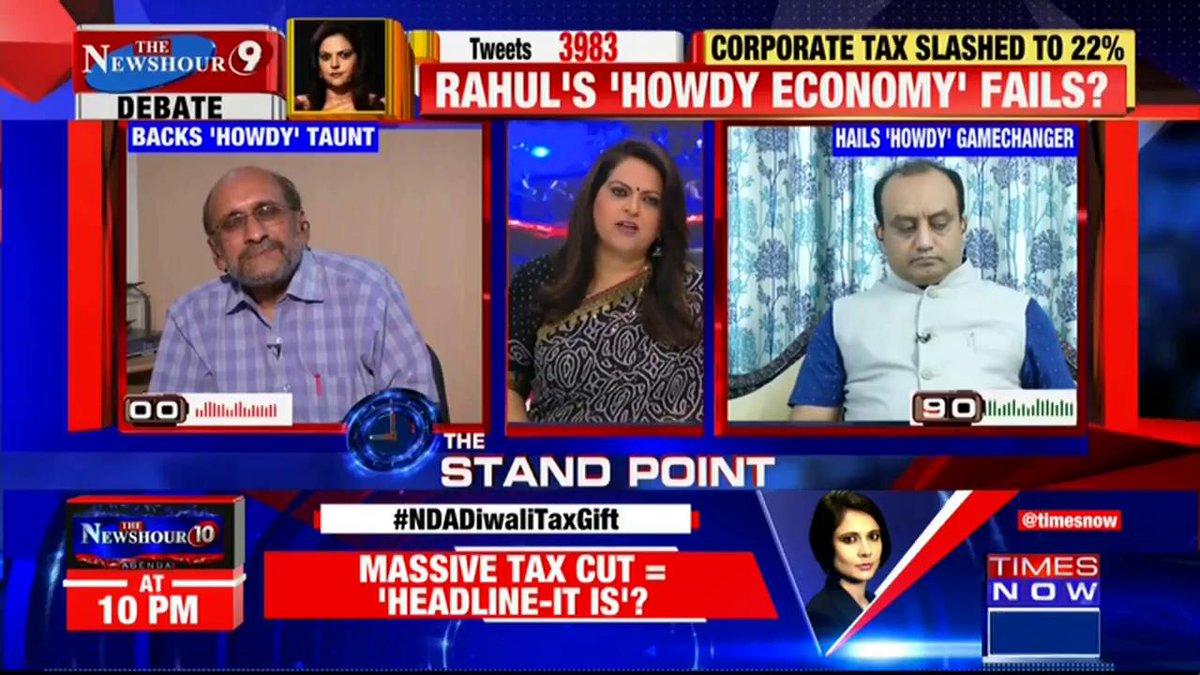 THE STAND POINT | The Govt. has taken a such a strong decision, when the entire world was going towards a slowdown:@SudhanshuTrived, National Spokesperson, BJP tells Navika Kumar on @thenewshour. | #NDADiwaliTaxGift