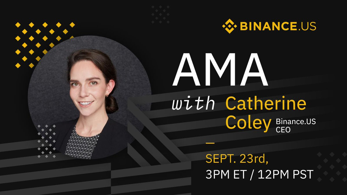 Join https://t.co/AZwoBOy3iq CEO @cryptocoley on Sept. 23rd, 3PM ET for her inaugural LIVE 📽️AMA!   Find out what's been going on at #BinanceUS so far & maybe even a brief insight on what's to come in phase 2.  Have a question you'd like to ask? Comment below to get it answered! https://t.co/ktdVBlK78p