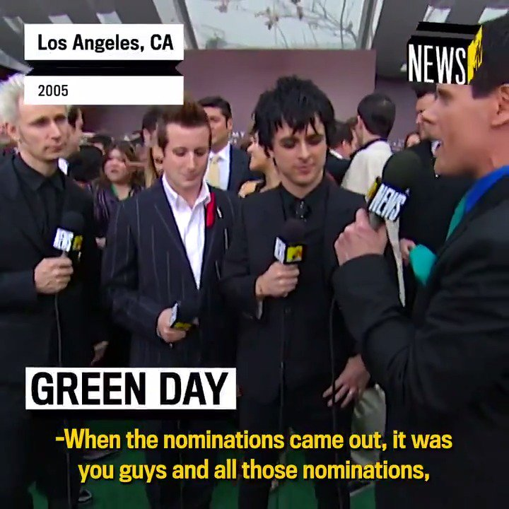 Fifteen years ago, @GreenDay released #AmericanIdiot. In honor, were looking back at their 2005 #Grammys red carpet interview with @MTVNews! 🔥