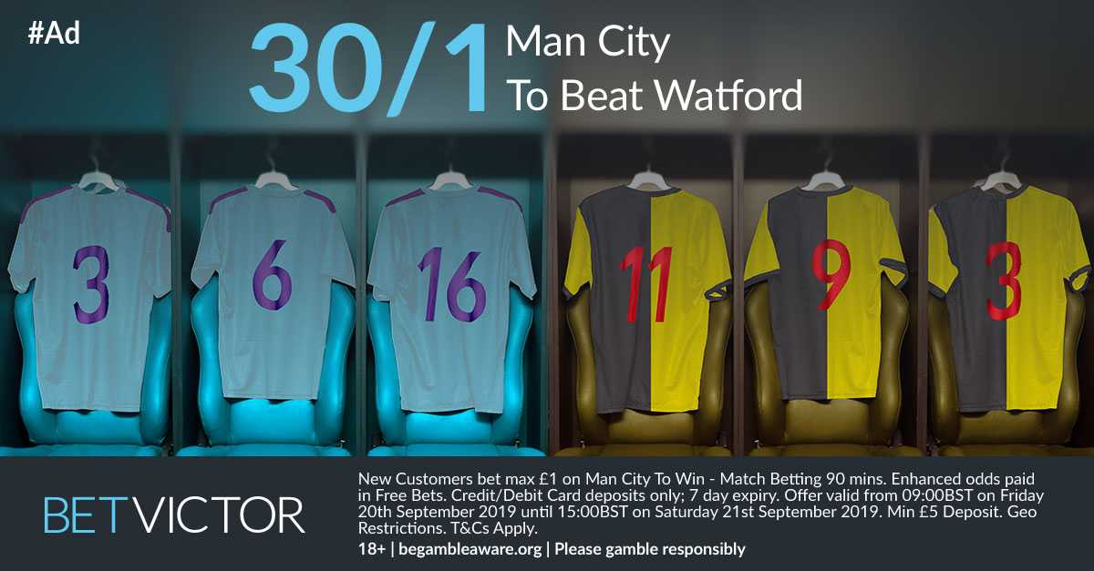 Betvictor Manchester City Enhanced OddsMan City Vs Watford▫️New Customers Offer▫️#Premierleague #PL▫️Man City To WIN @ 30/1▫️Max bet £1. Winnings paid in free bets link below↙️🔸https://banners.betvictor.com/wl/clk?btag=a_43346b_10349&aid=…#EPL #MCFC #ManCity. 18+ T&Cs Apply▪️8