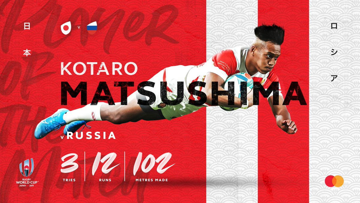 test Twitter Media - The @Mastercard Player of the Match 🏆  Japan's Kotaro Matsushima got the hosts off to a flying start in #RWCTokyo 👏  #RWC2019 #JPNvRUS https://t.co/XFcBEFmbKr