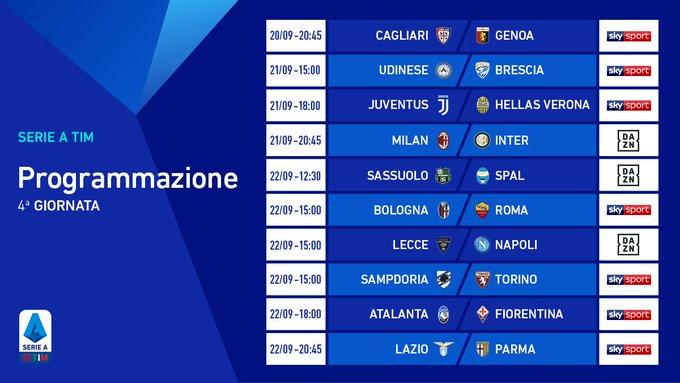 Calendario Serie A Le Partite Della 4 Giornata Su Sky E Dazn S S Calcio Napoli 1926