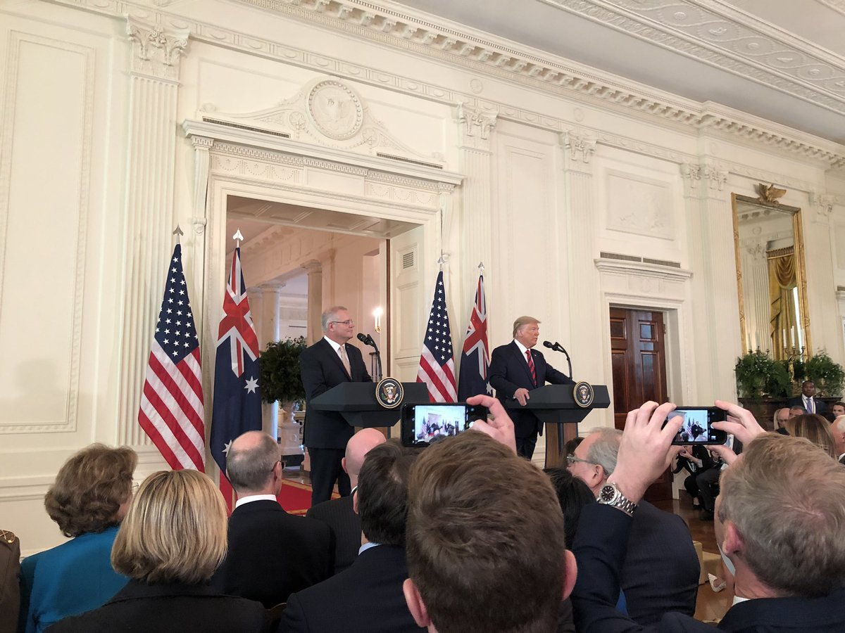 The scene in the East Room: Trump and Australian PM Morrison begin news conference.<br>http://pic.twitter.com/Y5Rjs5aMdn