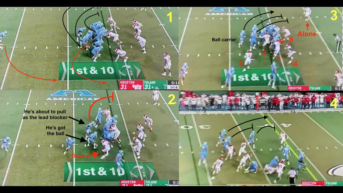"""On a play called """"Knee,"""" the trickeration that helped #Tulane beat #Houston.  A QB's Oscar-worthy act, a RB nursing a broken nose & a football-crazed OC with the call.  """"As we practiced it in practice, you're thinking 'This shit ain't ever gonna work.'""""   http:// bit.ly/30DDUqB     <br>http://pic.twitter.com/8w9eCBpRb1"""