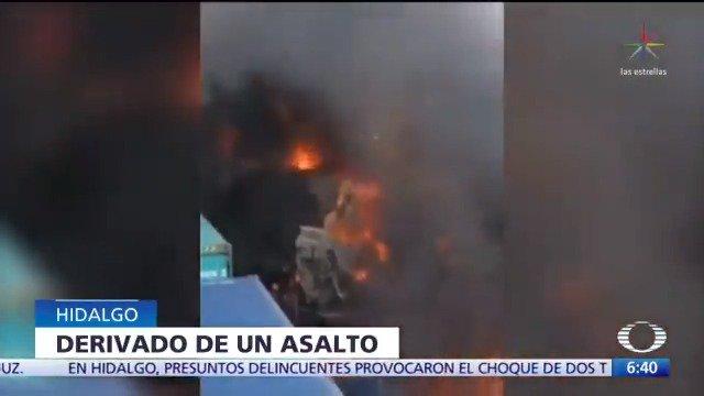 Saqueadores provocan choque de trenes en Nopala, Hidalgo. El conductor y su acompañante lograron saltar de la unidad.  #Despierta con @daniellemx_