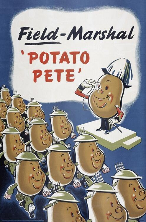 As food grows scarcer in UK, Britons are being urged to eat more potatoes; government suggests recipes like mashed-potato sandwiches.
