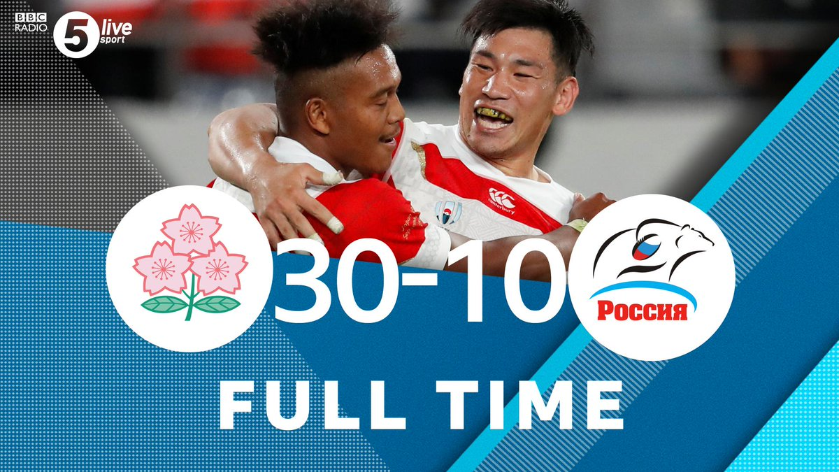 """FT:🇯🇵 Japan 30-10 Russia 🇷🇺""""They'll take the win and look to improve going forward"""" - @chjones9 After a shaky start, Japan beat Russia convincingly at #RWCTokyo #JPNvRUS @BBCSounds📱📻http://bbc.in/2m63TIj#bbcrugby #RWC2019"""