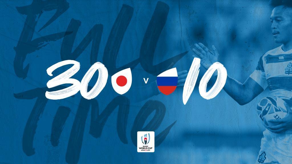 #RWC2019 | En el partido inaugural de la Copa del Mundo, Japón venció a Rusia en Tokio por el Grupo A. #JPNvRUS #RWCTokyo #WebbEllisCup