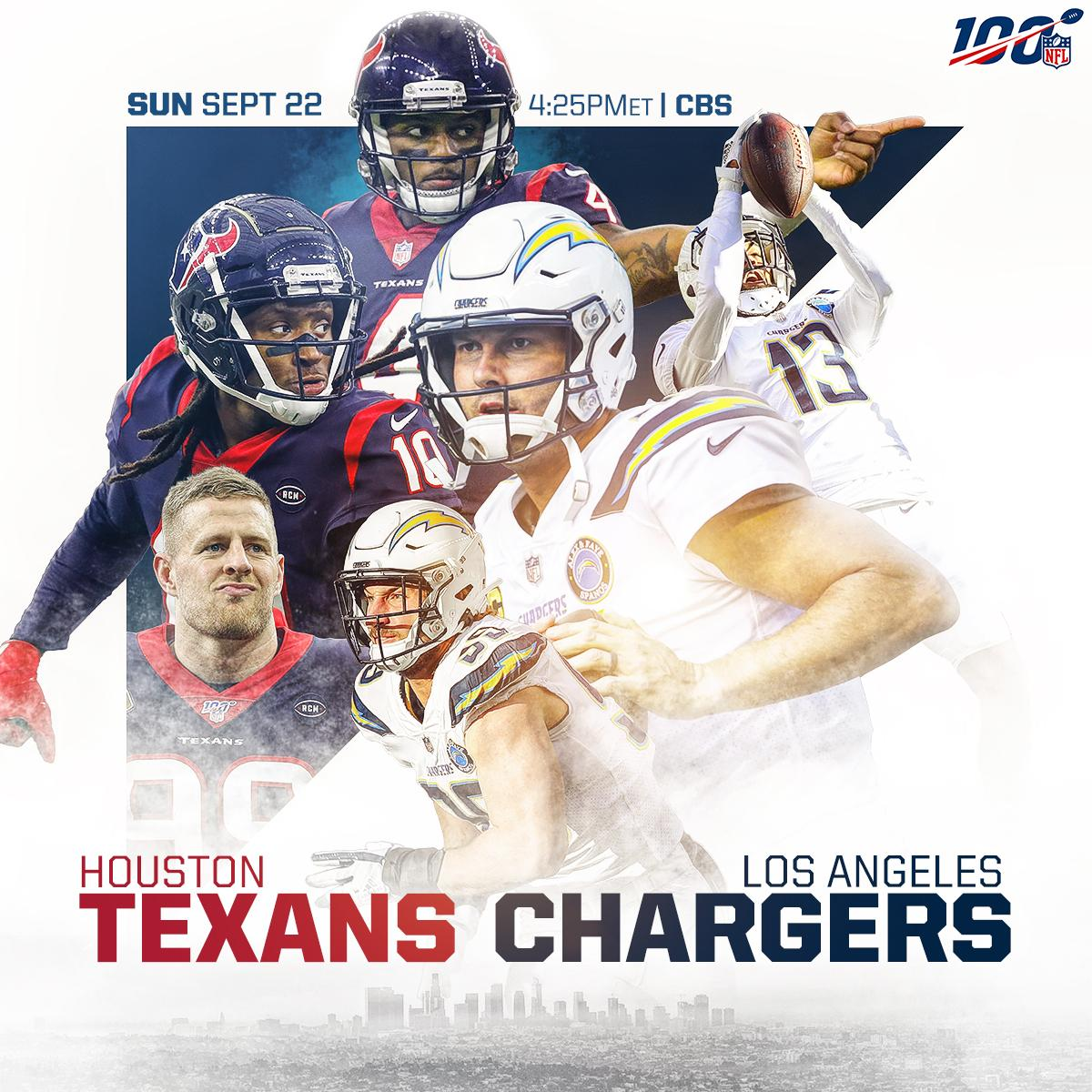THIS SUNDAY: @deshaunwatson and the @HoustonTexans head to LA to face Rivers and the @Chargers! #Texans #BoltUp  📺: #HOUvsLAC | Sunday at 4:25pm ET on CBS 📱: NFL App // Yahoo Sports App