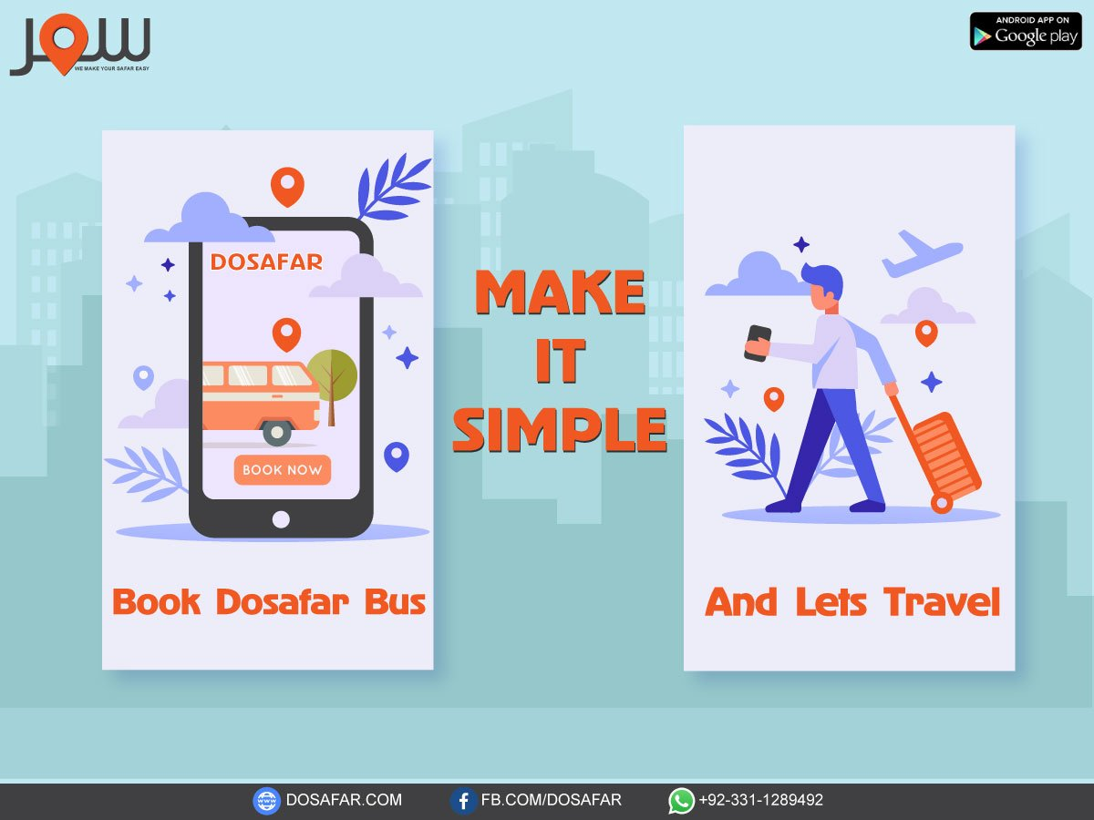 Make it simple!Book DOSAFAR bus and lets travel.For Download DOSAFAR App click on link: https://bit.ly/2IJULTZ #dosafar #downloadapp #arrivaltiming #departuretiming #advancebooking #notifications #alerts #livetracking #bustravelling  #GuleAttarExpress #SitaraeHilal