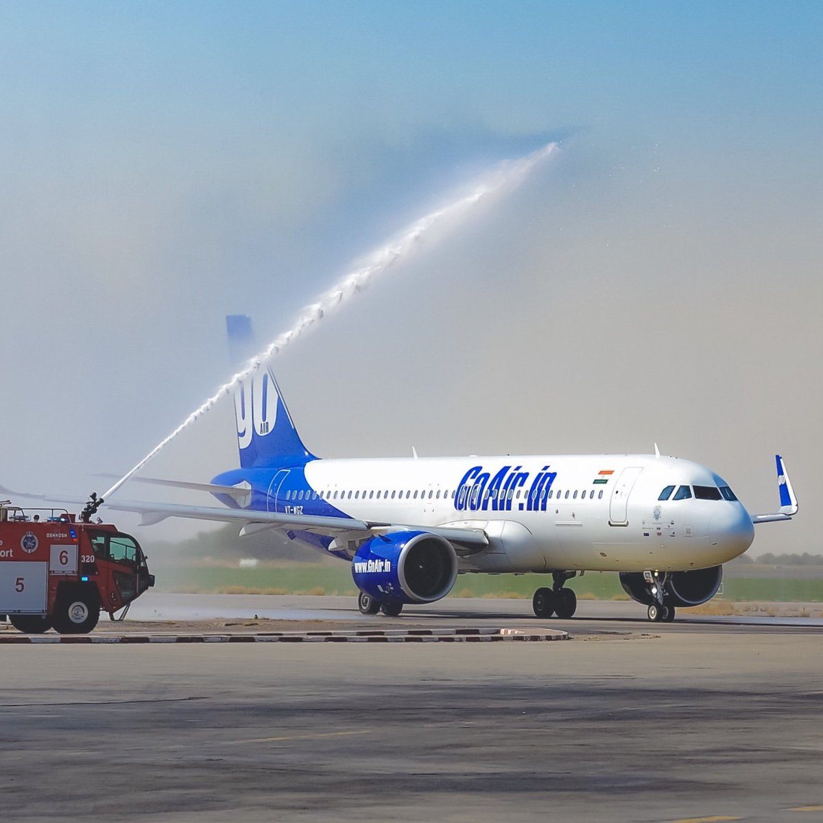 To Blue-tiful beginnings! ✈️😍We were greeted with a traditional water cannon salute at our newest destination #Kuwait.