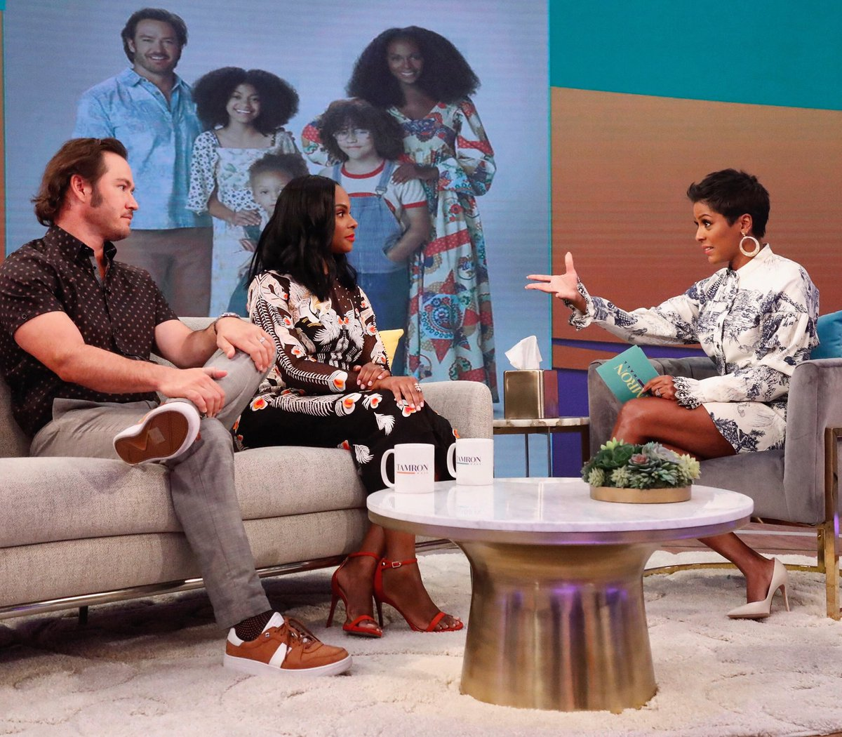 Mixing it up with stars of the new ABC show @mixedishabc !! @tikasumpter and Mark Paul Gosselaar !!! See you today @tamronhallshow #mixedish