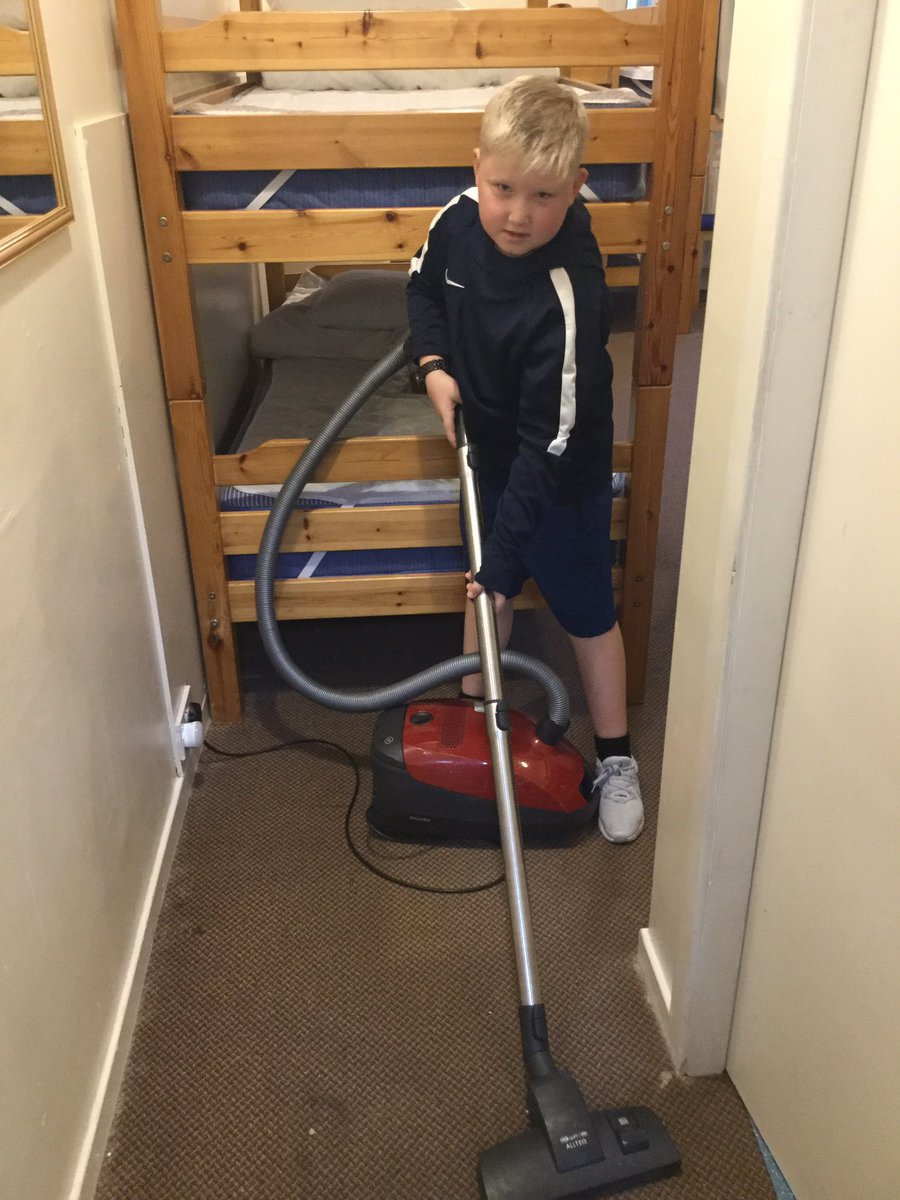 Tidying up before heading home - all the mums will be pleased to know that our children know how to hoover @lendrick_muir #housework #chores #TeamBurgh #memories #classof2020