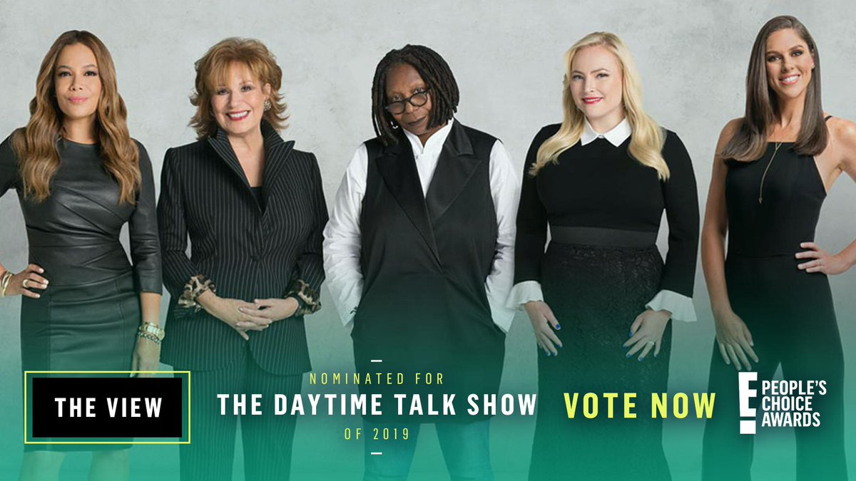 We're so excited to be nominated for the #TheDaytimeTalkShow award by E! @peopleschoice Awards — let's get this 🏆! eonli.ne/2lAagDM RETWEET this tweet to vote for #TheView! @WhoopiGoldberg @JoyVBehar @sunny @HuntsmanAbby @MeghanMcCain