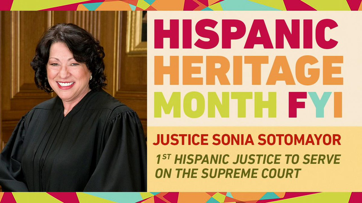 We salute the first Hispanic Supreme Court justice in American history for today's #HispanicHeritageMonthFYI: Sonia Sotomayor! abcn.ws/2RiH3wd
