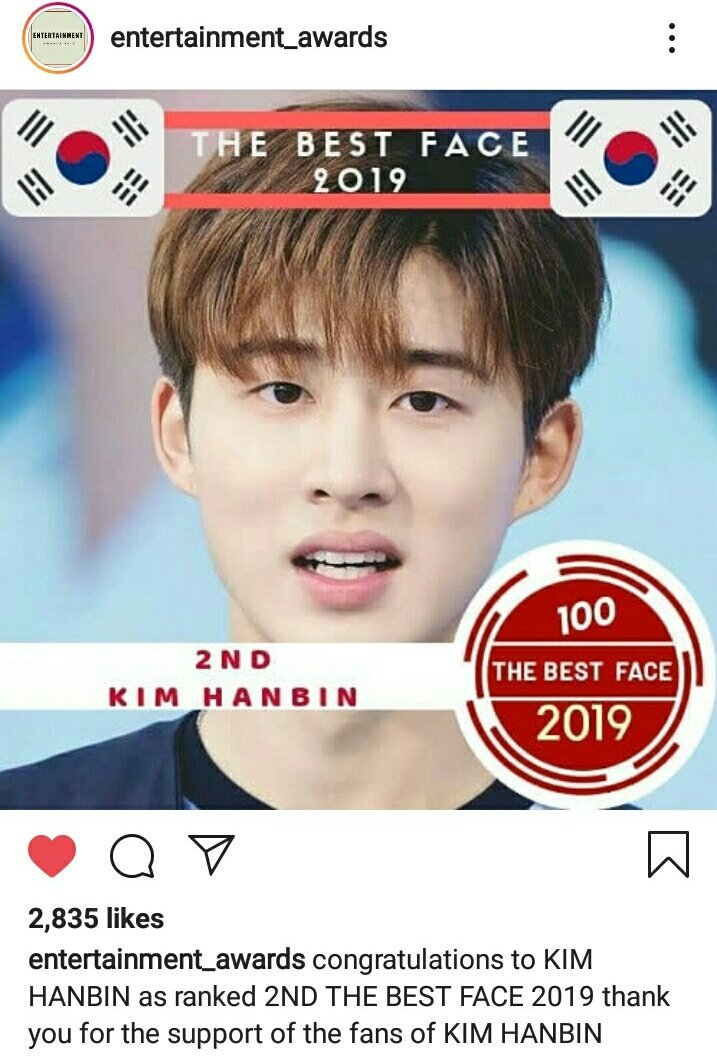 Congratulations for Kim Hanbin, the Final results for THE BEST FACE in 2019 Hanbin ranked #2. it's okay everyone did well.Thank You guys 🙏, another receipt to show to Hanbin he is a very handsome person 😆💖@ikon_shxxbi *click the link and react https://www.instagram.com/p/B2omd7ap-gM/?igshid=xbug1zi76582…