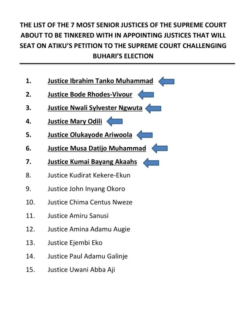 Breaking News:   Opposition CUPP raises alarm over plans to tinker with the list of Supreme Court Justices scheduled to sit on appeal in the Presidential election petition appeal by PDP's @atiku  against APC's Muhammadu Buhari.