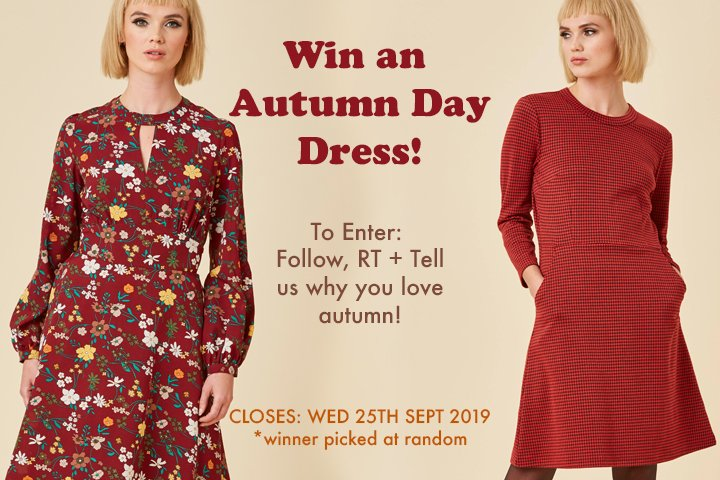 Win an autumn day dress! Follow, RT + Tell us why you love autumn!  Can't wait to win? Shop now:  http:// ow.ly/in8050v9V2m       #FridayFeeling #FreebieFriday #win #competition<br>http://pic.twitter.com/TidWqmYw7V