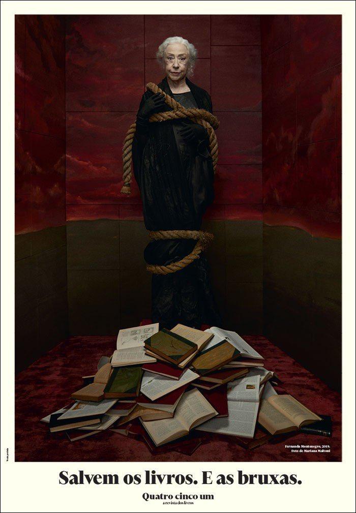 Dona Fernanda Montenegro, toda amarrada contra a censura, na capa da 451, a revista dos livros.