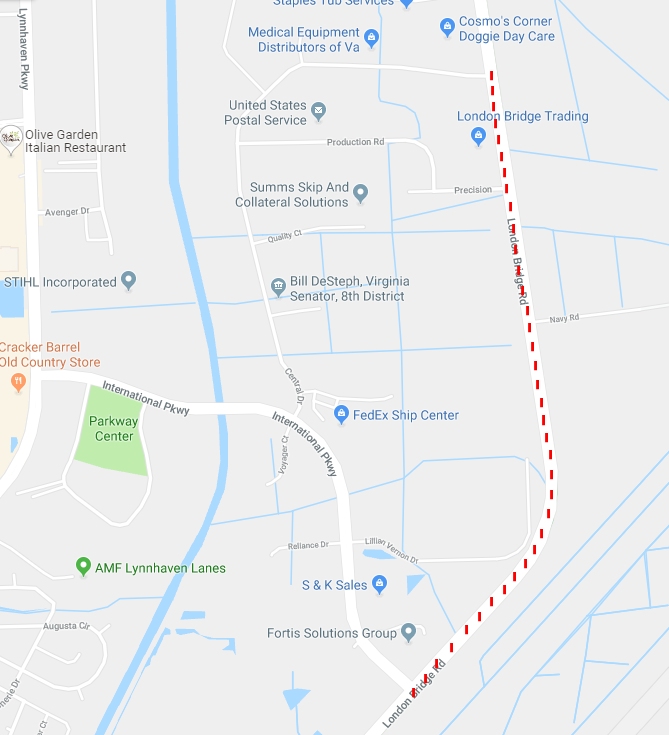 REMINDER: LONDON BRIDGE ROAD CLOSURE - @nas_oceana For the publics safety...Due to the upcoming NAS Oceana Airshow, there will be a temporary road closure of London Bridge Road between Central Drive and International Parkway. Closure: Sept. 20, 21 & 22 from 3:30 to 4:30 p.m.