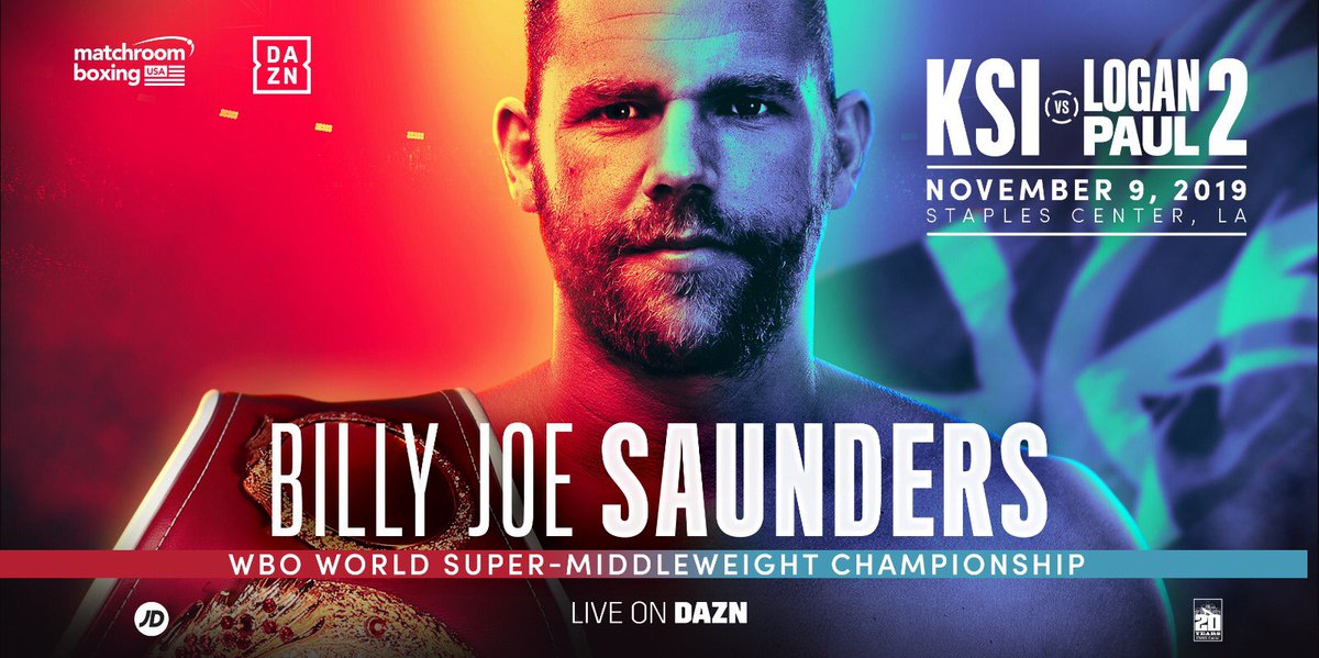 Confirmed 👑   WBO World Super-Middleweight Champ @bjsaunders_ defends his Title on November 9's #KSILoganPaul2 card in LA! 🇺🇸   Opponent announced next week 👊