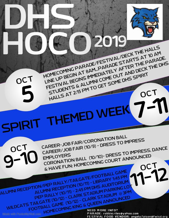 Homecoming activities are not too far away!! Come out and show your Wildcat Spirit!!
