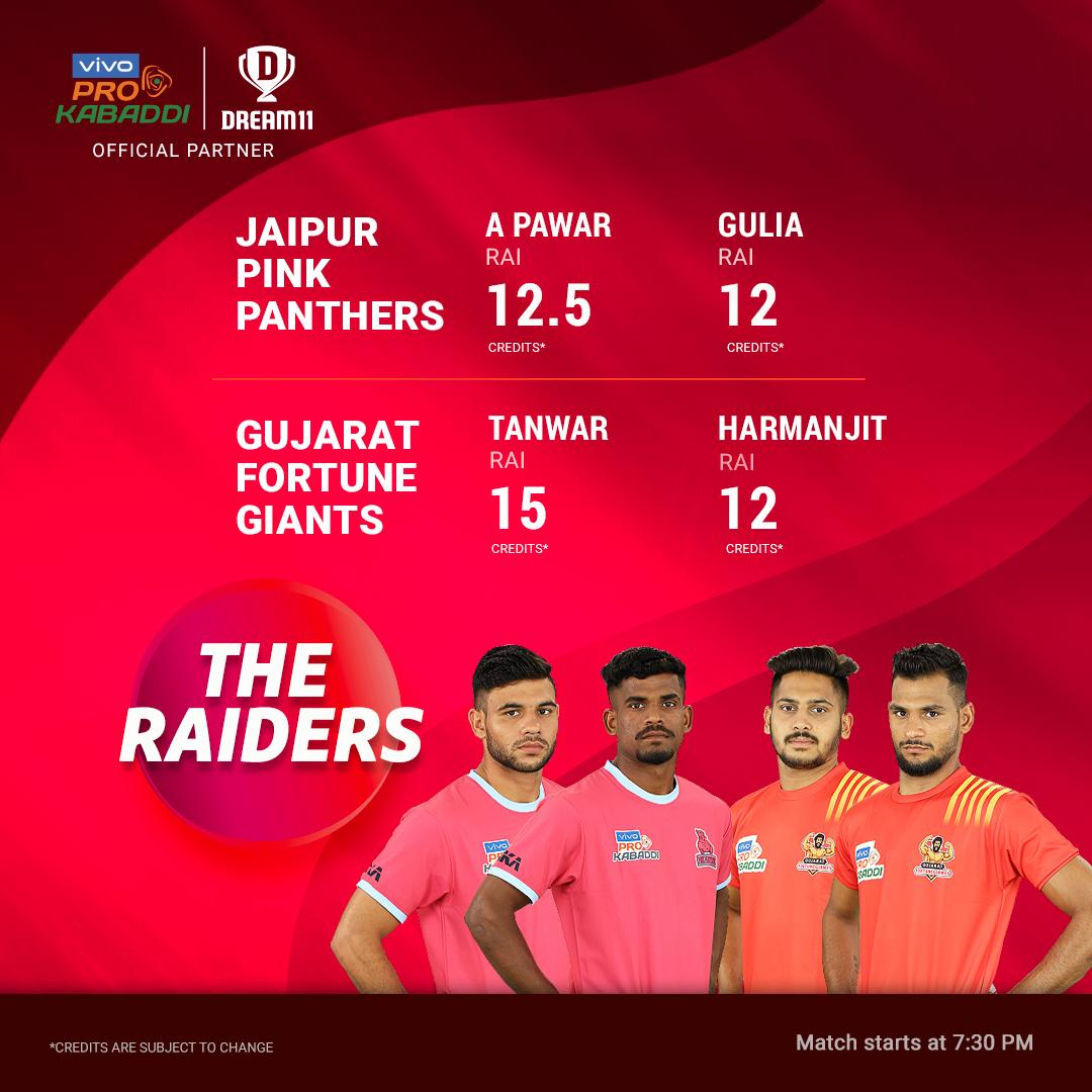 The @JaipurPanthers & the @FortuneGiantsFC clash tonight in the first home game for Jaipur. Get ready with your teams & start playing Kabaddi on your phones, only on #Dream11 - http://d11.co.in/Pro-Kabaddi#JAIvGUJ @ProKabaddi