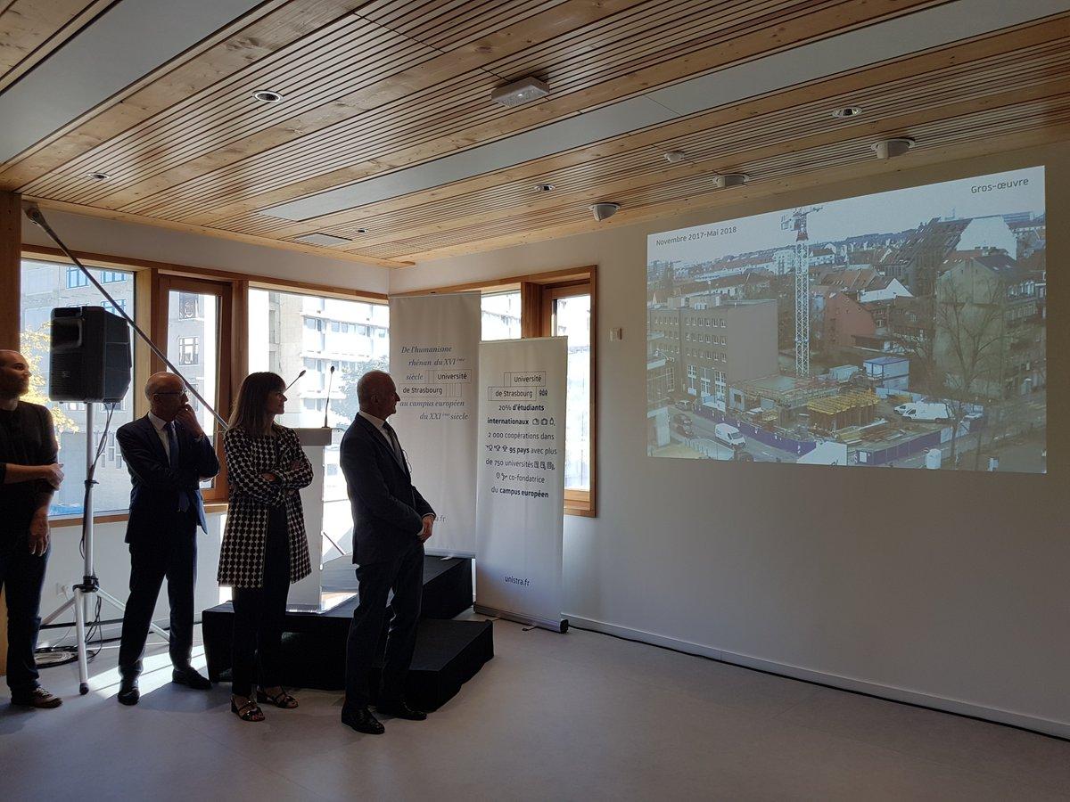 Jean-Luc Marx participe à l'inauguration de la maison des personnels de l'@unistra. Ce bâtiment durable, financé par l'État à hauteur de 4,07 millions d'euros dans le cadre du #plancampus, accueillera des formations, des activités conviviales et les services de l'action sociale. https://t.co/Ei1wDa2vO5