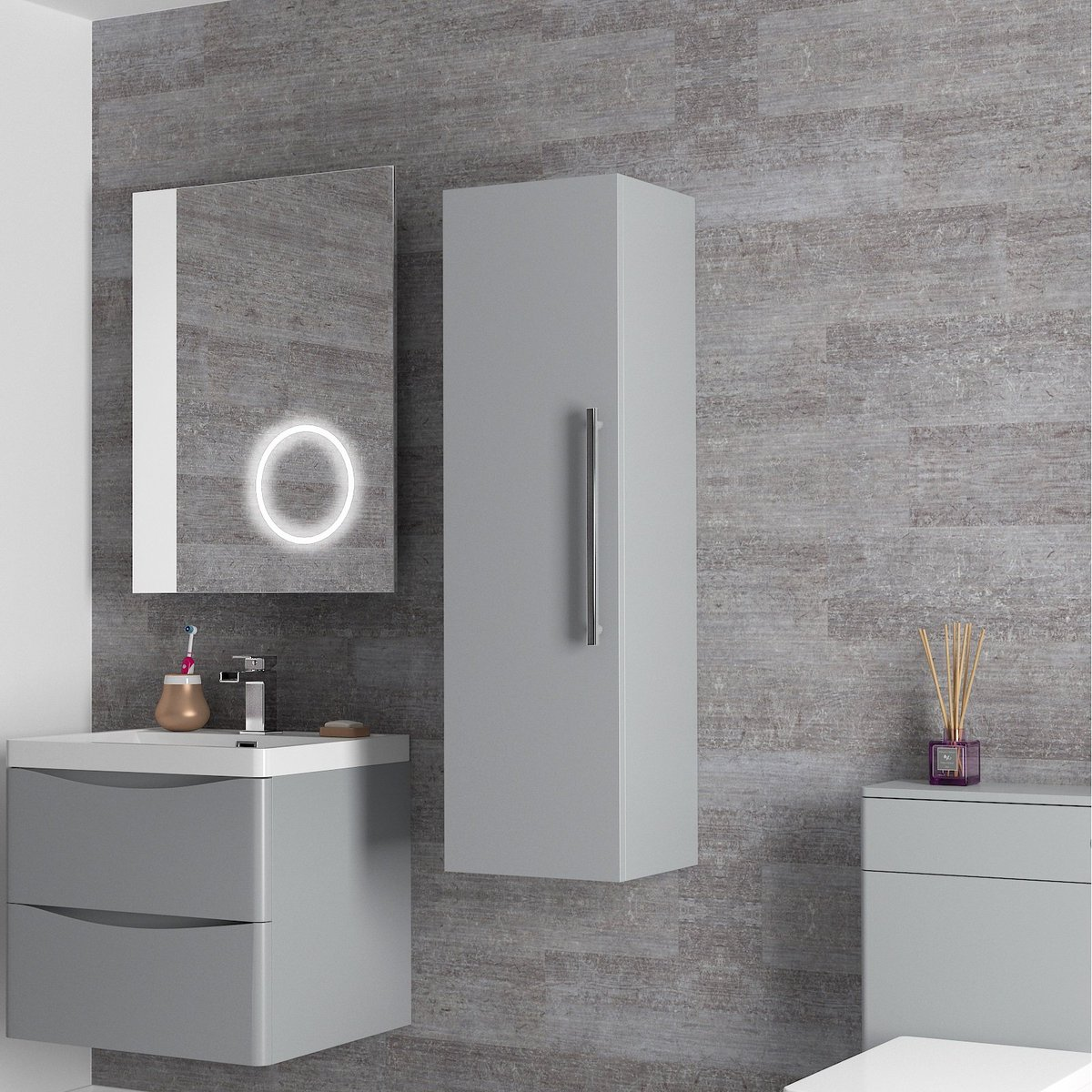 Introducing the Grey Bathroom Tall Storage Unit. This beautiful, wall hung, storage unit is perfect for a busy family bathroom. . http://tiny.cc/iuc3cz  . #bathroom #bathroomdesign #bathroomdecor #bathroomremodel #storage #tall #design #modern #stylish #stunning #wow #product