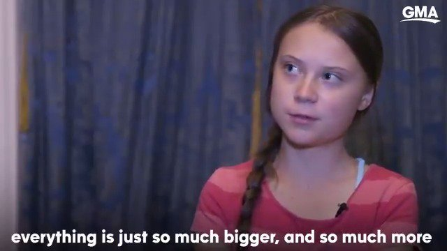 """Teen activist Greta Thunberg says the mission of the Global Climate Strike is 'much bigger' than skipping school: """"I think, this is something very big that is growing and it will not stop."""" https://gma.abc/2kV28xz"""