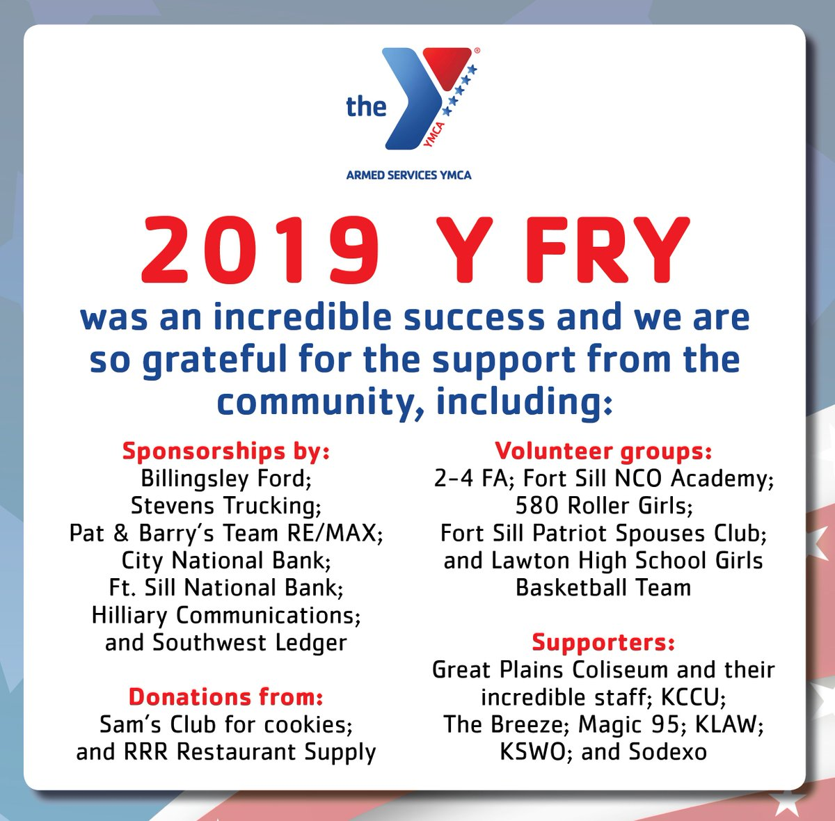 Thank you to all who turned out for #YFRY2019 and to all those who contributed to the success of the event! It was such an amazing Y FRY!