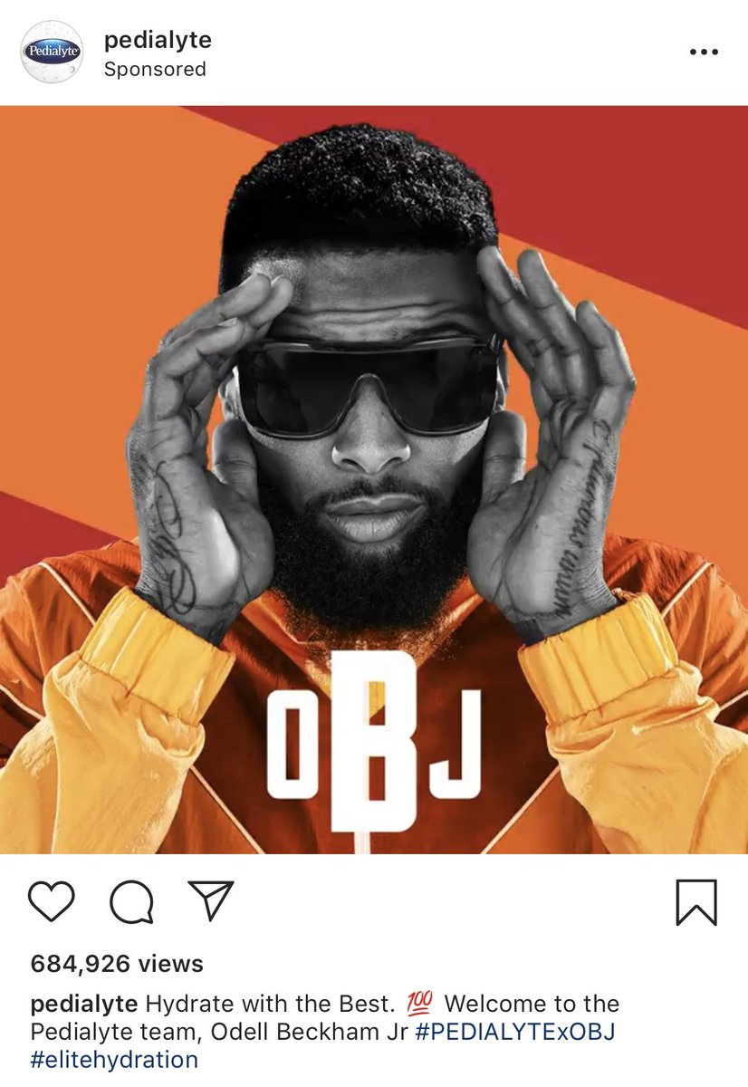 meanwhile in Cleveland.. OBJ pushing hangover recovery beverages @pedialyte https://t.co/dFireCt7or