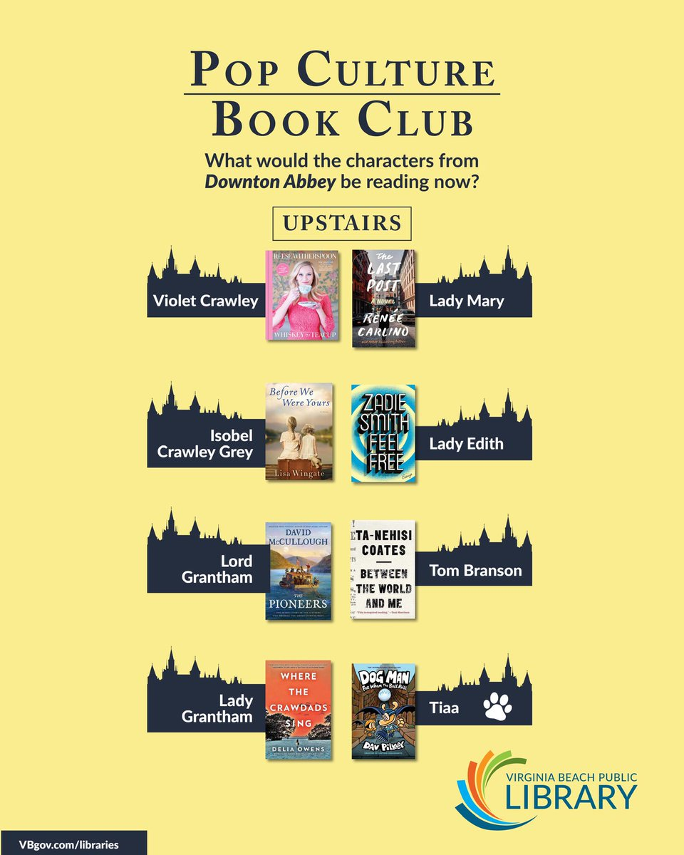 Who's ready to go back to Downton Abbey? 🙌🙌🙌 We're celebrating #DowntonAbbeyMovie with another fun booklist imagining what our fav characters (⬆️&⬇️) are reading! Find all the books here: vbpl.beanstack.org/lists/15416