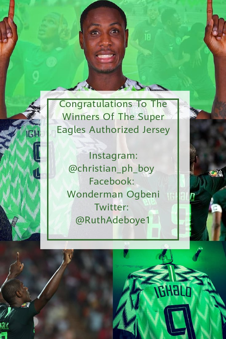 Congratulations To The Winners Of The Super Eagles Authorized Jersey Of @ighalojude   All Winners Should Please Send Us Their Contact Details For Details On How To Receive Their Prize. <br>http://pic.twitter.com/eesr9FyUzp