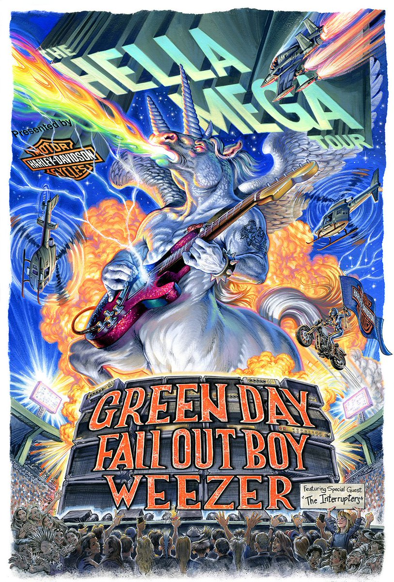 | ̄ ̄ ̄ ̄ ̄ ̄ ̄ ̄| #HellaMegaTour  presented by @HarleyDavidson with @GreenDay, @FallOutBoy, @Weezer + @Interruptweets on sale NOW |________|          \ (•◡•) /             \      /               ---             |   |