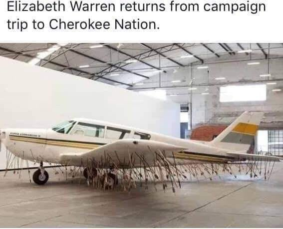 @catahoulasrule @margaretannjac6 Elizabeth Warren returning from a campaign trip to the Cherokee Nation. https://t.co/4GVlGiZrS9