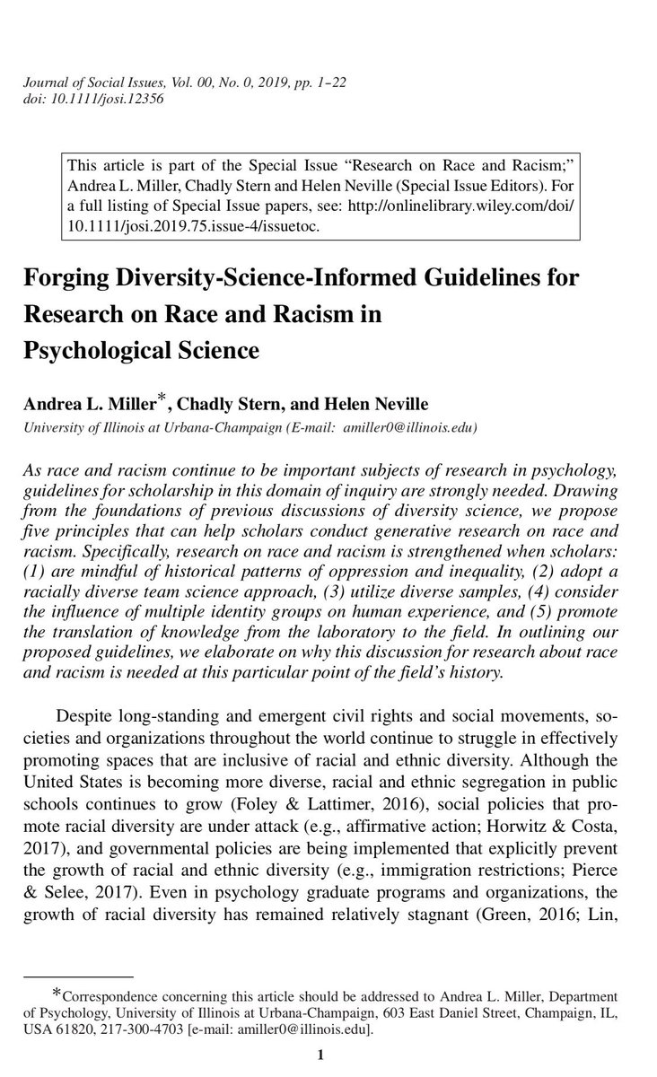 """Excited our (Miller, Stern, & Neville) article on """"Forging Diversity-Science-Informed Guidelines for Research on #Race and #Racism in Psychological Science"""" is available online, as part of our @SPSSI special issue. #AcademicTwitter <br>http://pic.twitter.com/TM3SkI0Rjz"""
