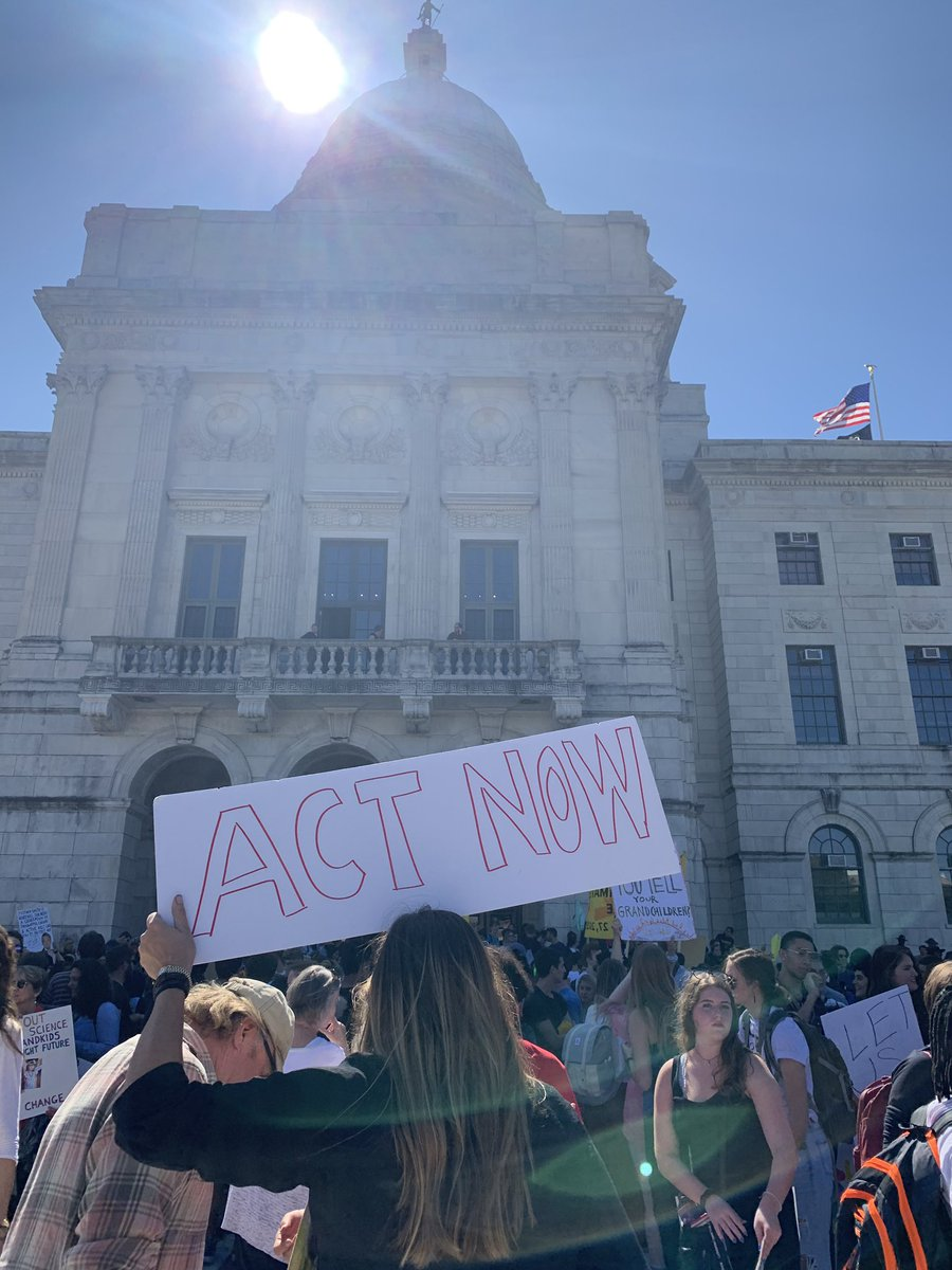 Hundreds of people converged on the Rhode Island State House today as part of the international #ClimateStrike to press for action on climate change.