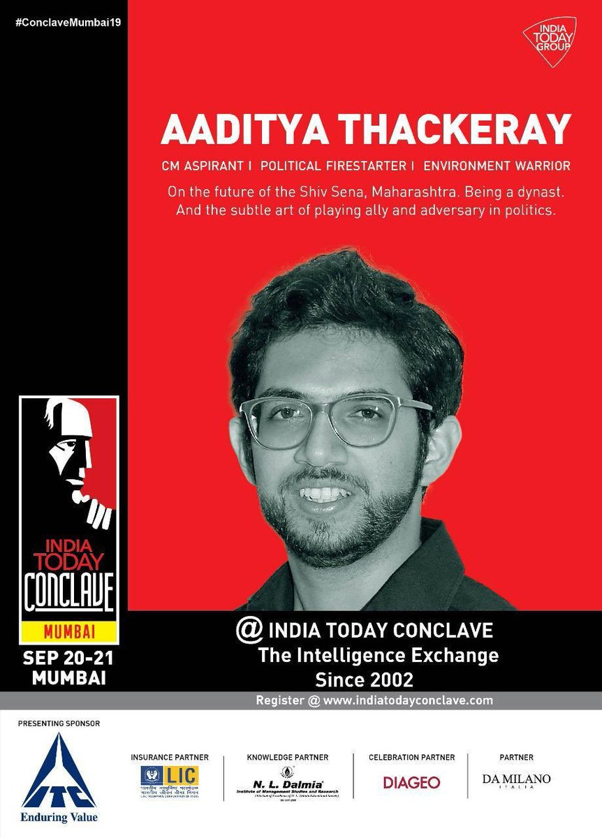Tomorrow, @AUThackeray will be live for the @IndiaToday #ConclaveMumbai19